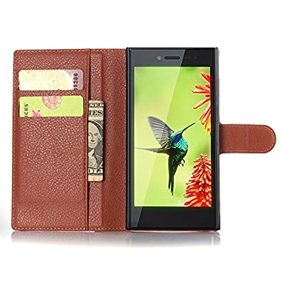 BlackBerry Leap Case, Popsky Stand Flip Wallet Case with Built-in Card Slots and Cash Compartment Premium Lichee Lines PU Leather Cover Case from Popsky