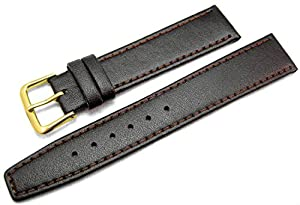 Brown Leather Watch Strap Band With A Stitched Edging And Nubuck Lining 18mm