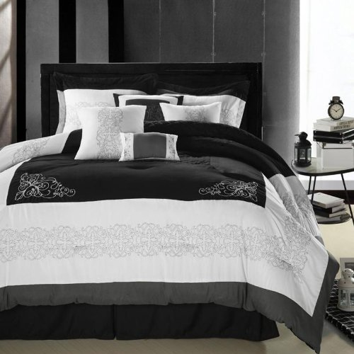 Florence Black & White Comforter Bed In A Bag Set - King 8 Piece front-939582