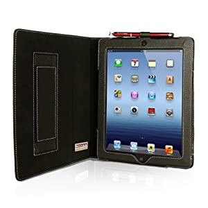 Snugg iPad 4 & iPad 3 Case - Leather Case Cover and Flip Stand (Black)
