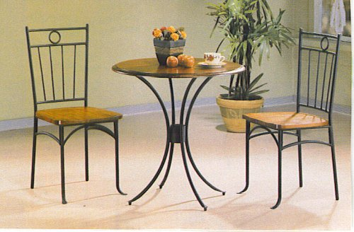 3Pc Bistro Metal & Wood Dining Tea Table & 2 Chairs