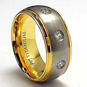 14K Bague Titane Plaque D'Or Avec 3 Zirconia Cubic Unisex Taille 61,5