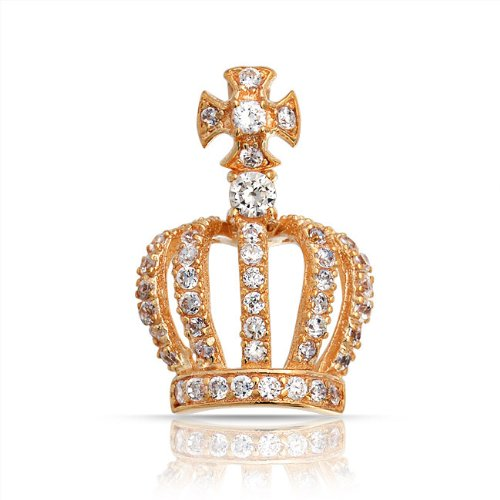 Bling Jewelry Gold Vermeil Pave CZ Royal Crown Pendant 925 Sterling Silver