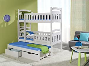 DOMINIC 3 Children Triple Bunk Bed - Pine Wood - 24 Colours - 2 Sizes - 4 Types of Mattresses