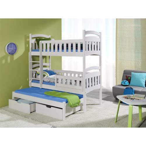 DOMINIC 3 Children Triple Bunk Bed - Pine Wood - 24 Colours - 2 Sizes - 4 Types of Mattresses (UK Standard 199cm...
