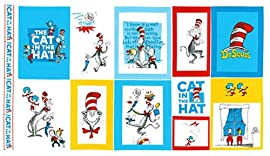 Dr. Seuss Cat in the Hat 100% Cotton Quilt Fabric Block Panel