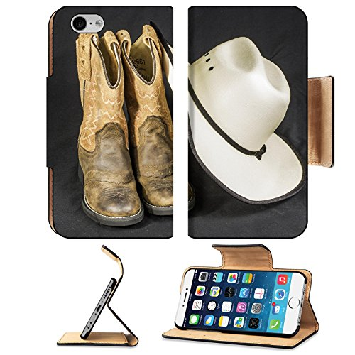 Luxlady Premium Apple iPhone 6 6S Flip Case A close shot of a pair of boots and a cowboy hat IMAGE 21618197 Pu Leather Card Holder Carrying