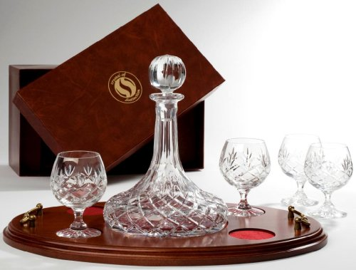 Crystal Captain / Ships Decanter  &  4 Brandy / Cognac Glasses on Wooden Tray in Presentation Box