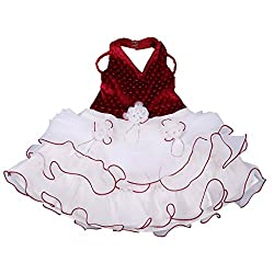 Sweety Baby Veetex Maroon and White 4 Year Girls Frock
