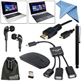 EEEKit 7-in-1 Starter Kit for ASUS Transformer Book T200 T200TA T100 T100TA Tablet, Micro USB Host OTG Hub Adapter Cable + 2.4G Wireless Mouse Black + Stylus Pen + Micro HDMI to HDMI Cable 1.8m + Tablet Earphone + Cleaning Cloth + EEEKit Pouch