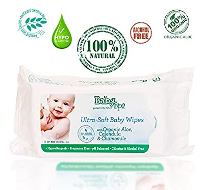 Babyspa Organic Ultra-soft Baby Wipes, Biodegradable 100% Natural with Organic Aloe Calendula & Chamomile, Fragrance Fee, Hypoallergenic, Ph Balanced, Chlorine & Alcohol Free