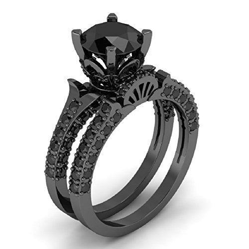 Beautiful 200 Ct Round All Black Diamond In Solid 925 Sterling Silver Engagement Wedding Ring