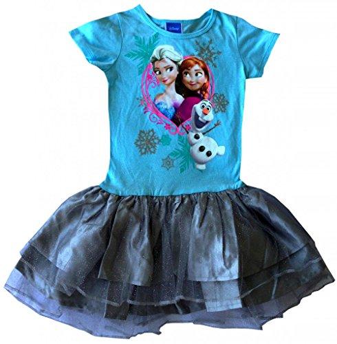 Disney Frozen Girls Sisters Anna Elsa Olaf Dress, S (6-6X), Blue/Grey