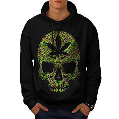 Cannabis Skull Head Pot Skeleton Men NEW Black S-5XL Hoodie | Wellcoda