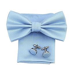 DBC3020 Cornflower Blue Plaid Microfiber Pre-Tied Bowties For Dad Hanky Cufflinks Set by Dan Smith