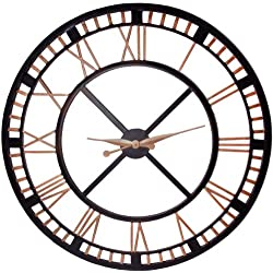 Large Analog Metal Wall Clock with Roman Numbers 36-inch Black & Gold/bronze ~ Wall Decor