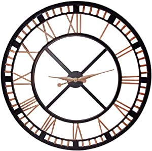 large analog metal wall clock with roman numbers 36inch