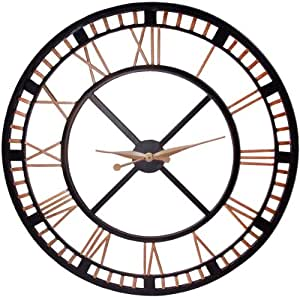 Large Analog Metal Wall Clock With Roman