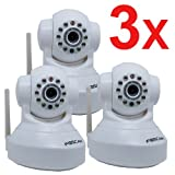 51LlL%2BKvR1L. SL160  3 Pack Foscam New Version FI8918W Pan & Tilt Wireless IP Camera   Infrared Night Vision, 2 Way Audio, Motion Detection Email Alert, White