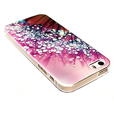 IPhone 5 Case, IPhone 5S Case - LUOLNH Fashion Style Colorful Painted Purple flower dew TPU Case Back Cover Protector Skin For IPhone 5S
