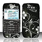 Cell Accessories For Less (TM) For Nokia E71 (StraightTalk) Rubberized Design Cover - White Flowers + Bundle (Stylus & Micro Cleaning Cloth) - By TheTargetBuys