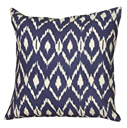 Rizzy Home T06149 Printed Details Decorative Pillow, 18 by 18-Inch, Navy Blue