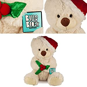 Blue Block Factory, Huggable 20 Inch Christmas Bear with Santa Hat and Mistletoe Plush Animal Toy