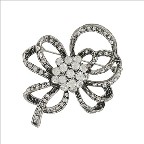 Ribbon W Crystal Stone Cluster Design Pin #041896