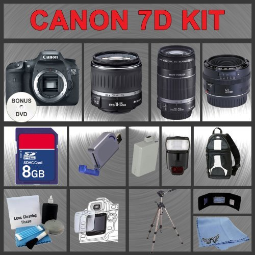 Canon EOS 7D Digital SLR Camera Body with Canon 18-55mm and Tamron AF 75-300mm f/4.0-5.6 LD for Canon Digital SLR Cameras + 16GB Memory Card + Digital Flash + SD Memory Card Reader + Li-Ion Replacement Battery Pack + Deluxe Cleaning Kit + Carrying Case +