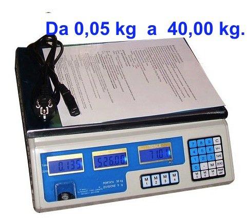 BILANCIA ELETTRONICA DIGITALE PROFESSIONALE MAX 40 KG CON 4 OPERATORI DISTINTI