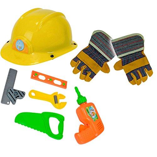 Bauarbeiter Set Bauhelm Werkzeug und Handschuhe Kinder Spielzeug Helm ab 3 Jahre