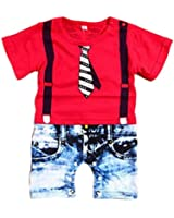 Baby Boys Rompers Gentleman Printed Jumpsuit All in One Outfits
