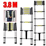 CDC®Portable 3.8M Multi-Purpose Telescopic Ladders - Max. Loading of 150kg - Aluminium Fodable Extendable Extension Steps Ladder