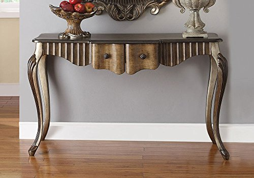 1PerfectChoice Bayley Hallway Entrway Console Sofa Table Bronze Taupe Accent Mirror Optional