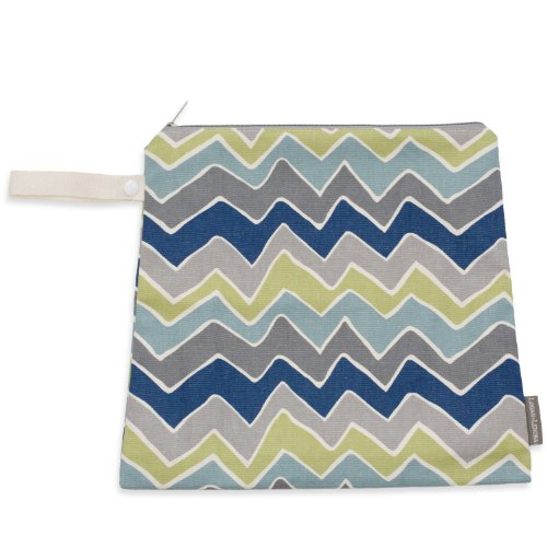 Logan + Lenora Mini Wet Bag - Medium Cloth Diaper Wet Bag - Beach, Pool, Gym Bag for Swimsuits or Wet Clothes - Made in USA - Waterproof -Chevron (ZOOM Zig Zag)