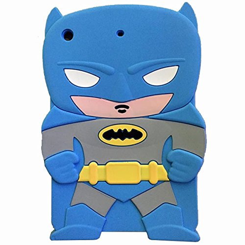 Ipad mini Case,Mingfung 3D cute Superhero Cartoon Soft Rubber Silicone Back Case Cover Skin for Ipad mini 1/2/3-Batman Blue