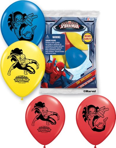 "Pioneer National Latex Spider-Man 6 Count 12"" Latex Balloons, Assorted"