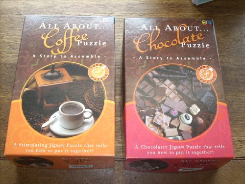 Set Of (2) Story Puzzles From The Cafe Series: ***All About Coffee Puzzle: A Story To Assemble - 1026 Pieces And *** All About Chocolate Puzzle - The Grenada Chocolate Company Helped In The Research And On-Site Photography