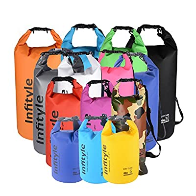 Waterproof Dry Bags - Floating Compression Stuff Sacks Gear Backpacks for Kayaking Camping - Bundled with Phone Case and Pocket Tool by Infityle
