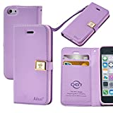 Case for iphone 5C, By Ailun,Wallet Case,PU Leather Case,Cut,Credit Card Holder,Flip Cover Skin,(Purple)