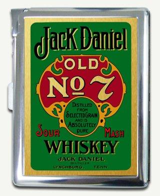 Jack Daniel Green Cigarette Case Built in Lighter Wallet Card Holder
