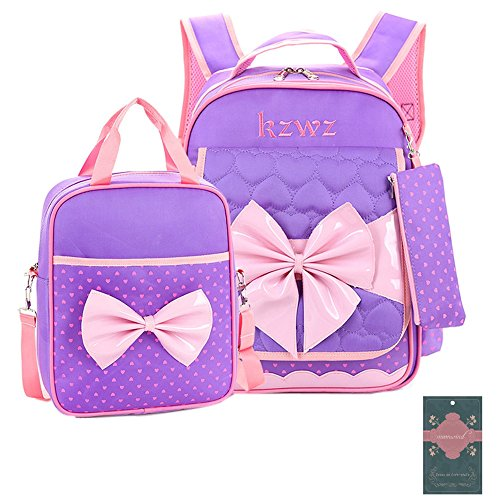 Moonwind 3pcs Sweet Bow Princess Waterproof Girls School Backpack Book Bag and Pencil Lunch Bag Set (Heart-shaped, Heart-shaped Purple)