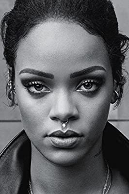 Rihanna Face Black and White Poster 20x30