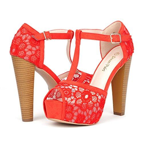 DREAM PAIRS LAURA-L Women's Lace Peep Toe High Heel T-Strap Enjoyable Platform Pumps Sandals Shoes RED-SZ-7