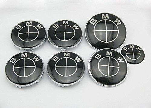 Angel Mall BMW Classic Look Black Emblem Logo Badge Set 82mm Hood Emblem 74mm Trunk Emblem 44mm Steering Wheel Emblem 68mm Wheel Center Caps 7-pcs Set (Usps Emblem compare prices)