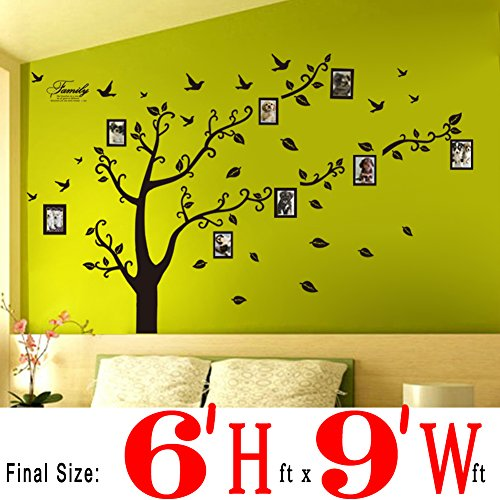 Dearm-home® 6′(h) X 9′(w) Huge Size Family Photo Frame Tree Quote Picture Removable Wall Decor Art Stickers Vinyl Decals Home Decor Include 11birds for Living Room&bedroom