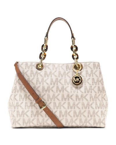 Michael Kors Cynthia Large Satchel Vanilla Mk Signature Pvc Shoulder Bag