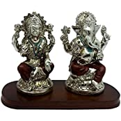 ART N HUB Platinum Plated With Wooden Base Lord Laxmi Ganesha Statue Hindu Goddess Laxmi And God Ganesh Handicraft...