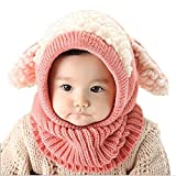 Tusong Unisex Baby toddle Cute Puppy Dog Ears Winter knitted hooded scarf(Pink)