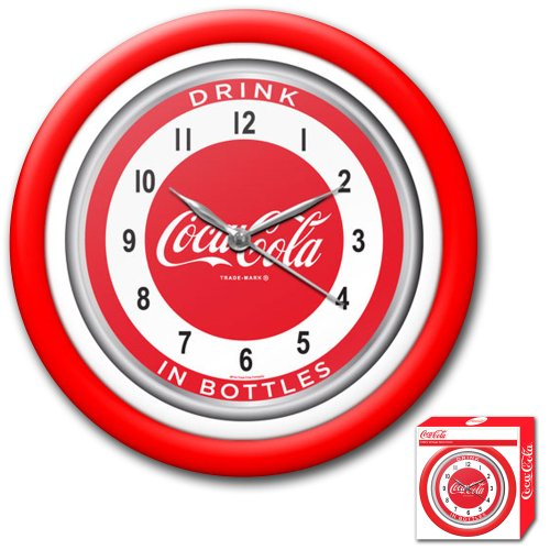 Trademark Coca-Cola 12-Inch Clock with White Neon - 1950s Style